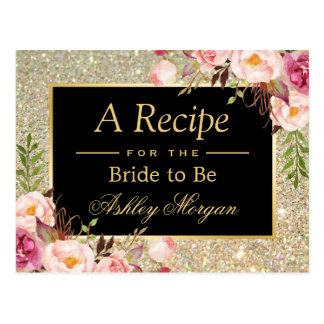 Gold Glitter Floral | Bridal Shower Recipe Card Postcard