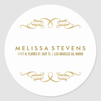 Gold Glitter Floral Lace Frame White Background Round Sticker