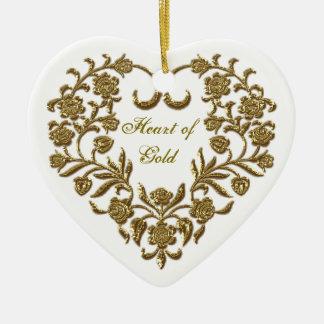 Gold Glitter Flourish Valentine's Heart Ornament