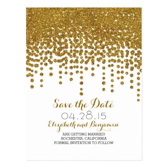 gold glitter foil confetti save the date postcards