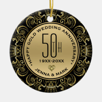 Gold Glitter Frame 50th Wedding Anniversary Christmas Ornament