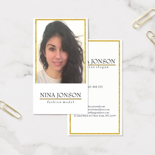 Gold Glitter Frame And Photo Business Card