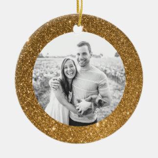 Gold Glitter Frame Holiday Christmas Ornament