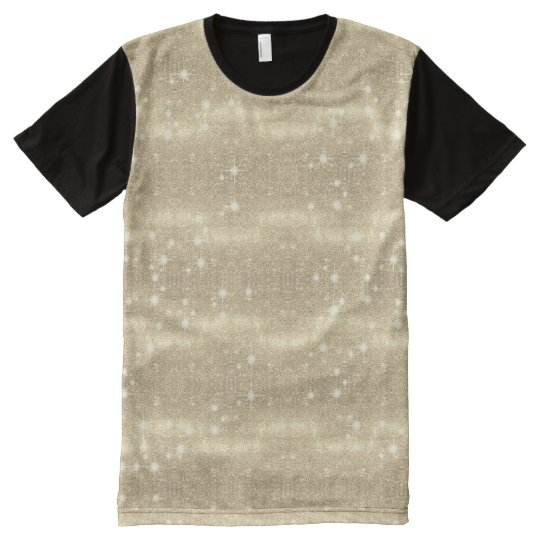 Gold Glitter Galaxy Faux Space Sparkle All-Over Print T-Shirt