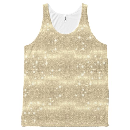 Gold Glitter Galaxy Faux Space Sparkle All-Over Print Tank Top