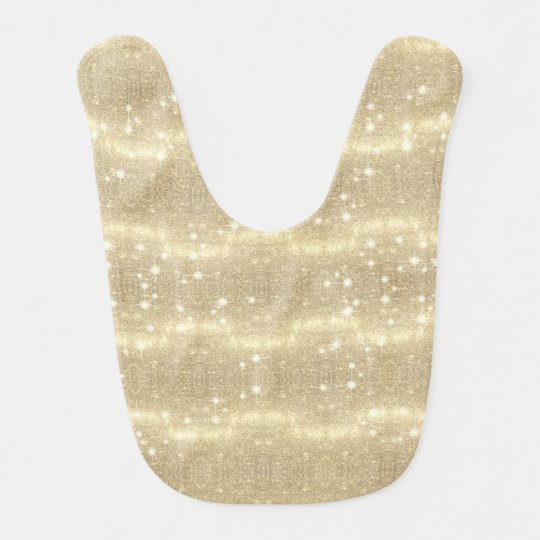 Gold Glitter Galaxy Faux Space Sparkle Baby Bib