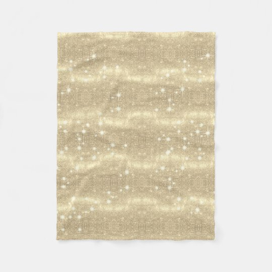 Gold Glitter Galaxy Faux Space Sparkle Fleece Blanket