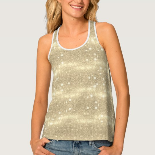 Gold Glitter Galaxy Faux Space Sparkle Tank Top