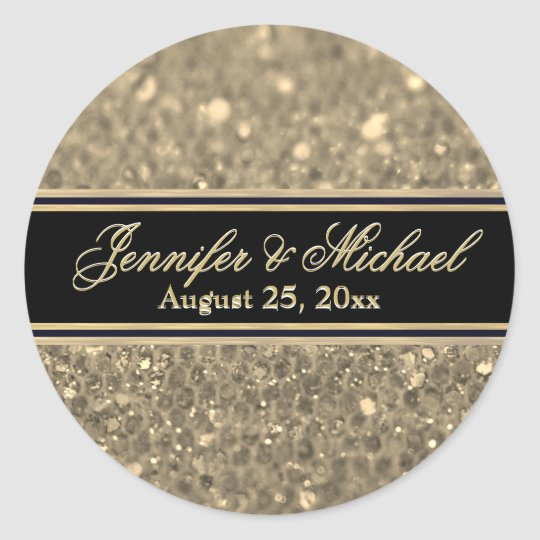 Gold Glitter Glam Classic Round Sticker