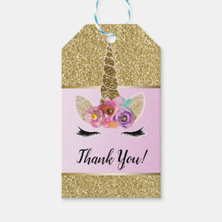 Gold Glitter Glam Unicorn Floral Pink Party Favor Gift Tags