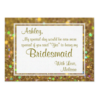 Gold Glitter Glam Will You Be My Bridesmaid Card