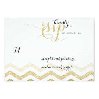 Gold Glitter Glamour Chevron Wedding RSVP Card 9 Cm X 13 Cm Invitation Card