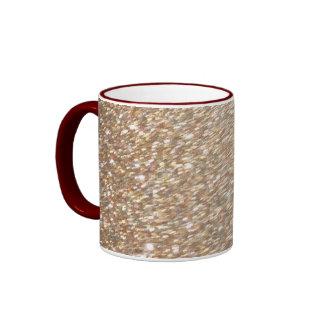 Gold Glitter Glamour Party Festive  Light Sparkles Ringer Mug