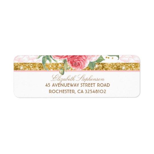 Gold Glitter Glamour Vintage Floral Pink Wedding Return Address Label