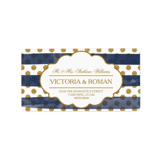 Gold Glitter Glamour Wedding Address Labels