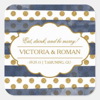 Gold Glitter Glamour Wedding Favor Stickers