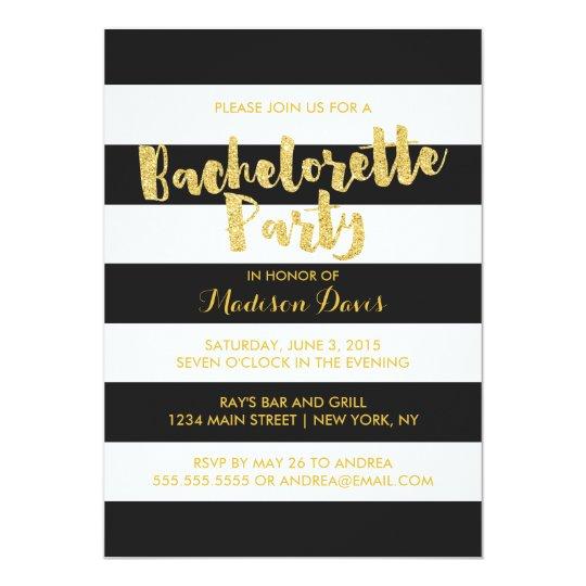 Gold Glitter Glamourous Bachelorette Party Invites