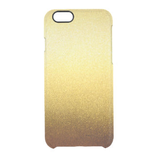 Gold Glitter Gradient Ombre Pattern Transparent Clear iPhone 6/6S Case