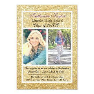 Gold Glitter Graduation Announcement 2 Photos