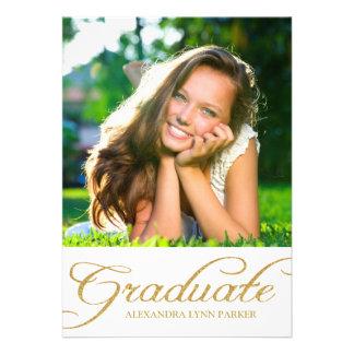 Gold Glitter Graduation Party Invitation Personalized Announcement