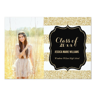 Gold Glitter Graduation Party Invitations