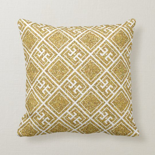 Gold Glitter Greek Pattern Pillow