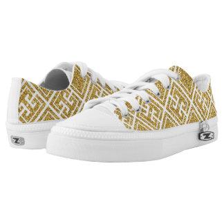Gold Glitter Greek Pattern Shoes