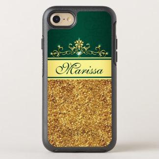 Gold Glitter Green Stylish Vintage OtterBox Symmetry iPhone 8/7 Case