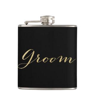 Gold Glitter Groom Flask