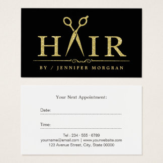 Gold Glitter Hair Stylist Scissors Appointment Business Card