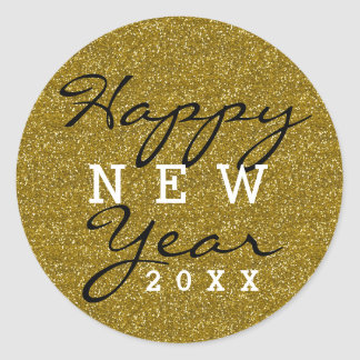 Gold Glitter Happy New Year Classic Round Sticker
