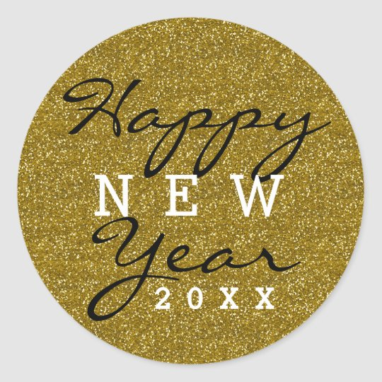 Gold Glitter Happy New Year Classic Round Sticker