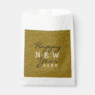 Gold Glitter Happy New Year Favour Bags