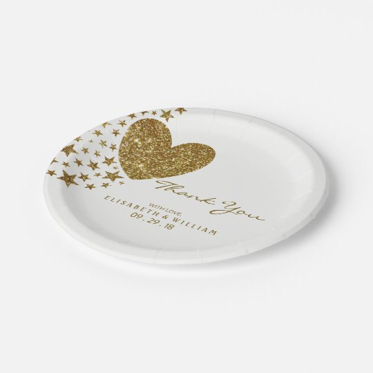 Gold Glitter Heart and Stars Wedding 7 Inch