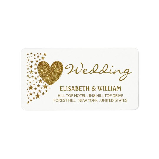 Gold Glitter Heart and Stars Wedding Address Label