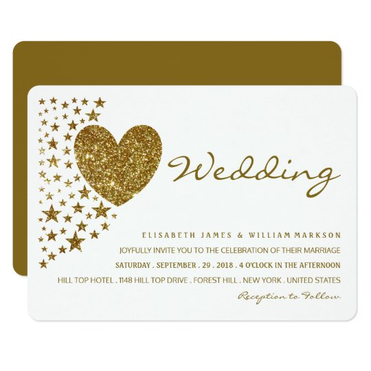 Gold Glitter Heart and Stars Wedding Card