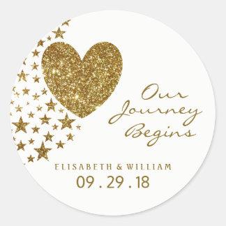 Gold Glitter Heart and Stars Wedding Classic Round Sticker