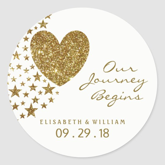 Gold Glitter Heart and Stars Wedding Classic Round