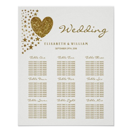 Gold Glitter Heart and Stars Wedding Poster