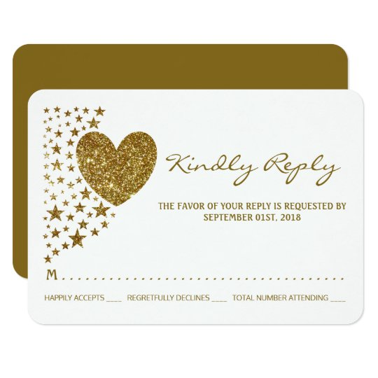 Gold Glitter Heart and Stars Wedding RSVP Card