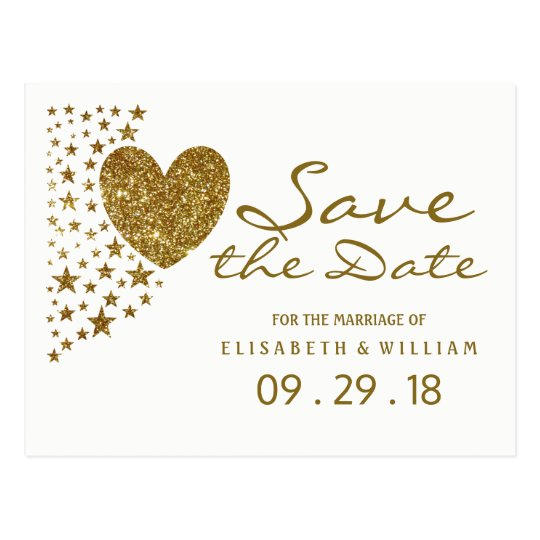 Gold Glitter Heart and Stars Wedding Save The