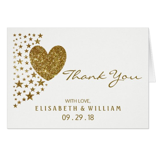 Gold Glitter Heart and Stars Wedding Thank You