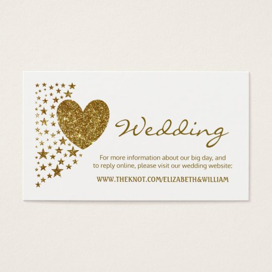 Gold Glitter Heart and Stars Wedding Website Business
