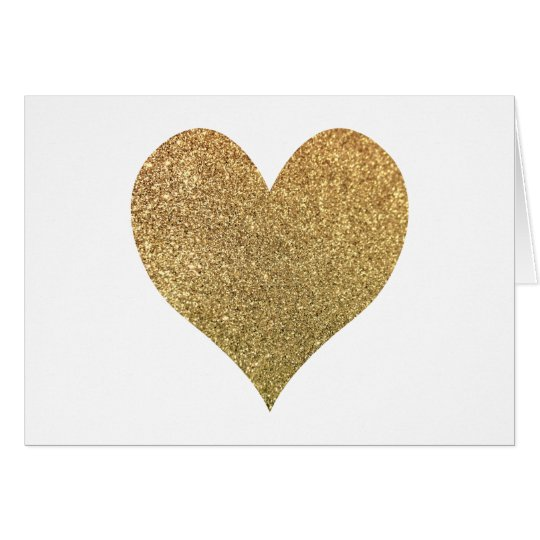 Gold Glitter Heart Thank You Card