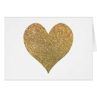 Gold Glitter Heart Thank You Note Card