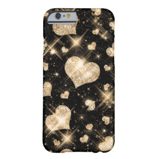 Gold Glitter Hearts Barely There iPhone 6 Case