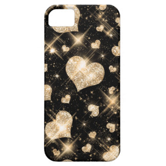 Gold Glitter Hearts iPhone 5 Cases