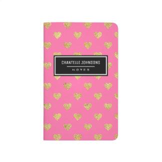Gold glitter hearts journal