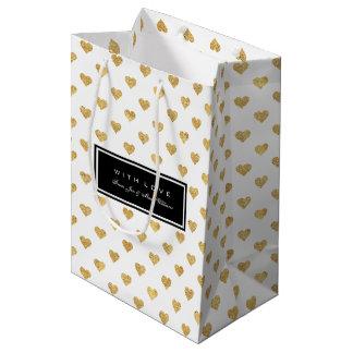 Gold glitter hearts medium gift bag