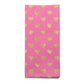 Gold glitter hearts napkin